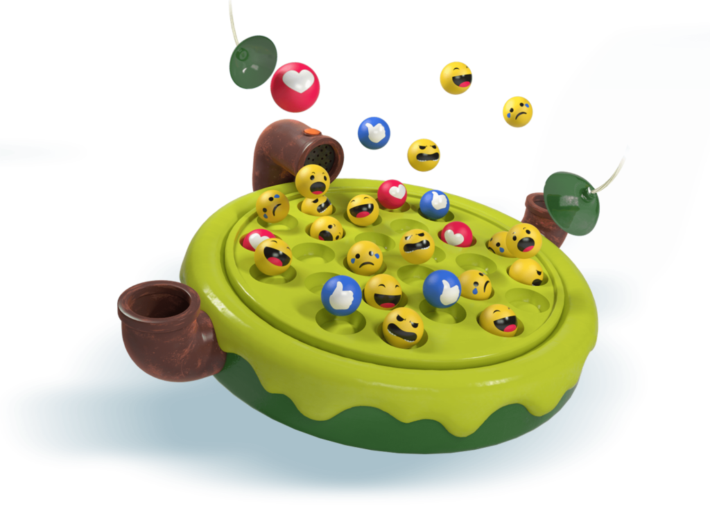 Fishing for Likes toy image - Where players pick up different emojis with suction cups