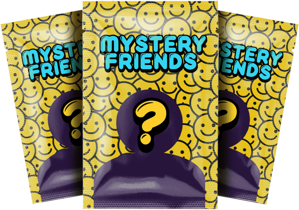 Mystery Friends toy logo - Three packs of cards showing a silhouette with a question mark on top