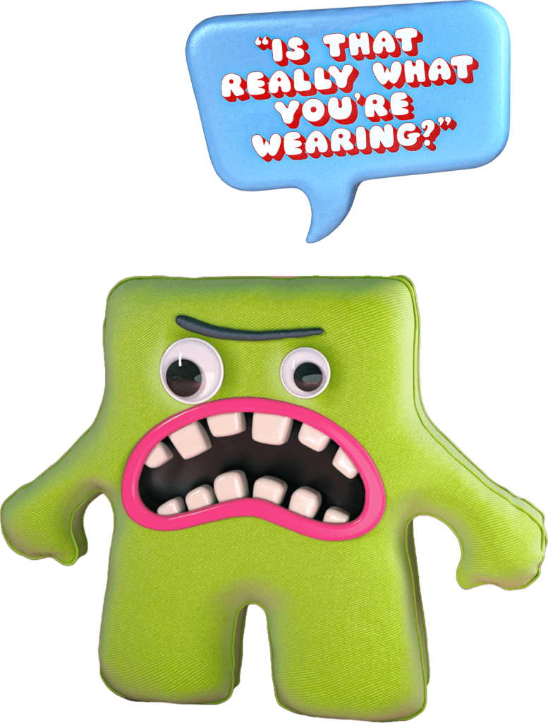 Pocket Troll toy image - A green troll with a nasty facial expression asking is that really what you're wearing?