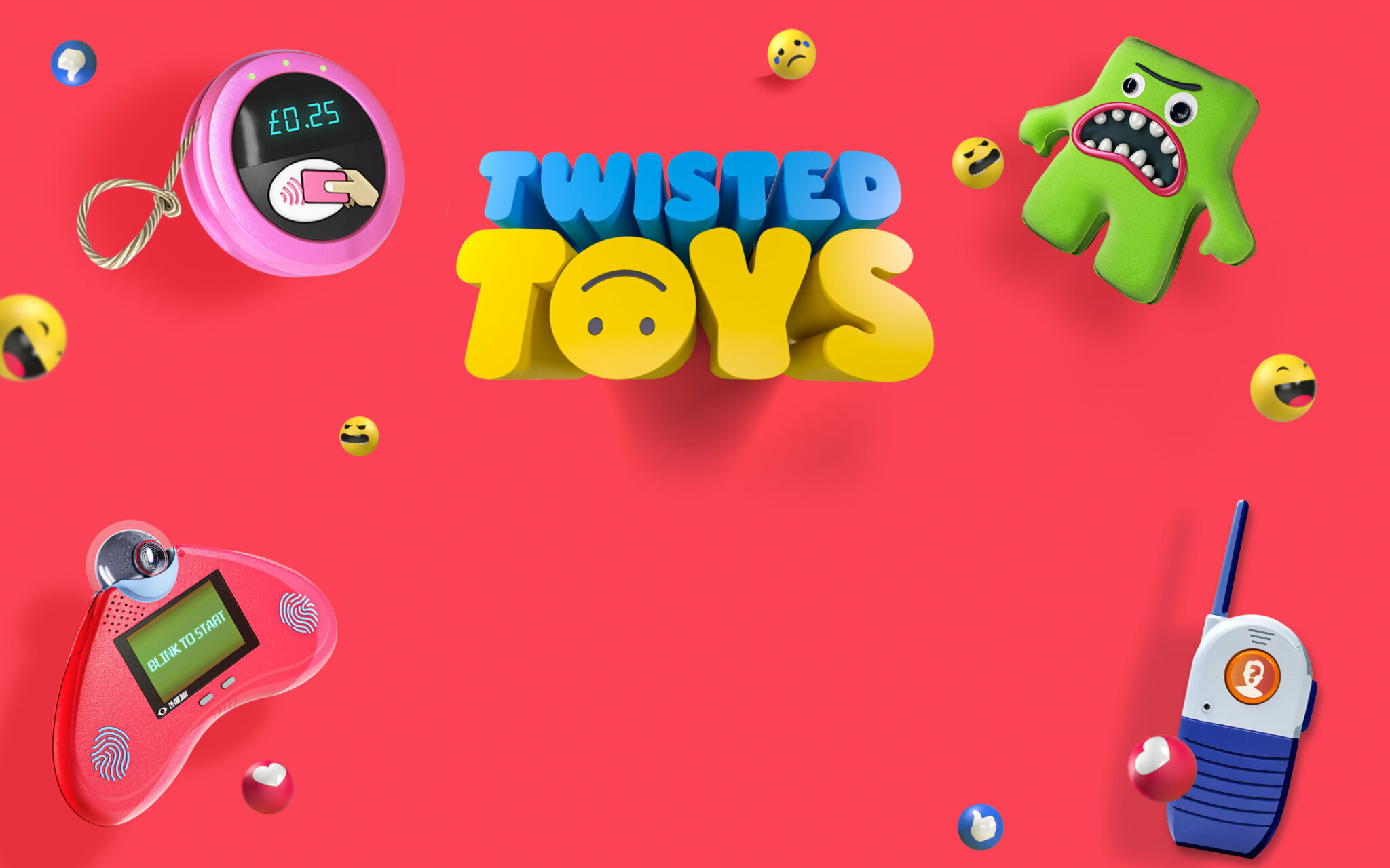 Twisted Toys background with 4 mocked up toys and the Twisted Toys logo on it
