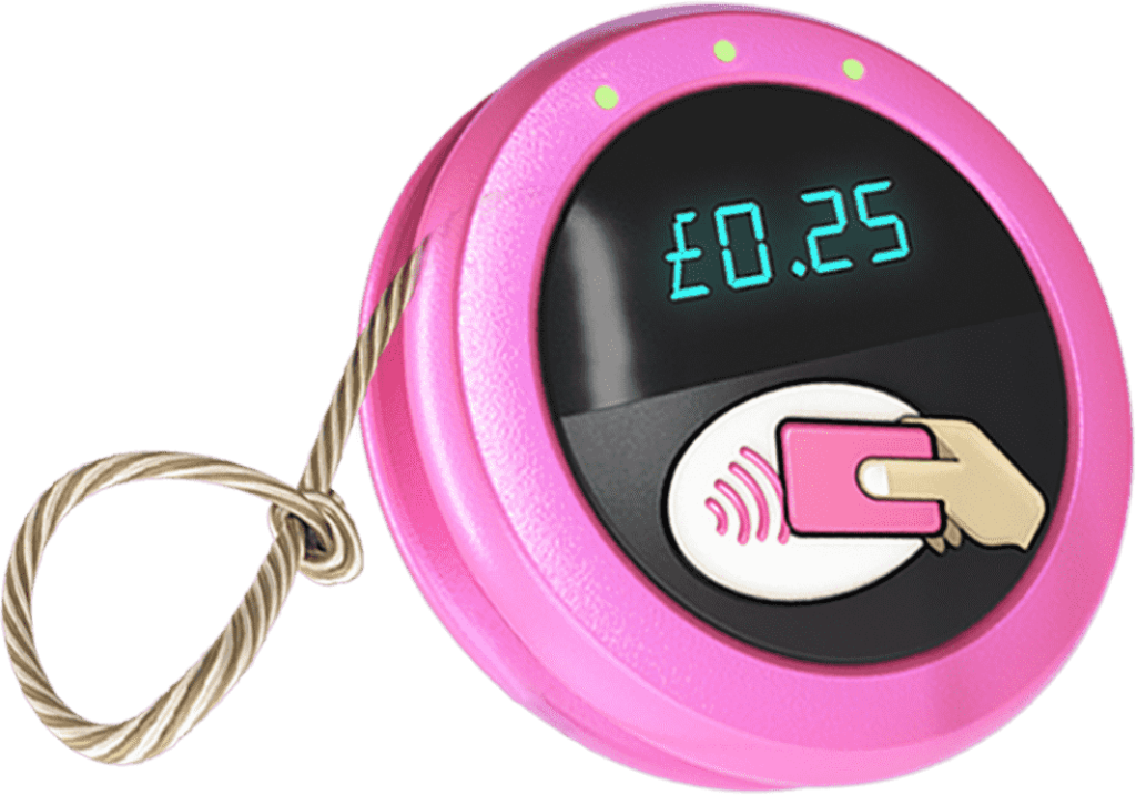 Pay as You Yoyo toy image - A yoyo with a contactless symbol, and a display showing a charge of £0.25